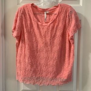 LC Lauren Conrad Coral Floral Lace Overlay Tee XL